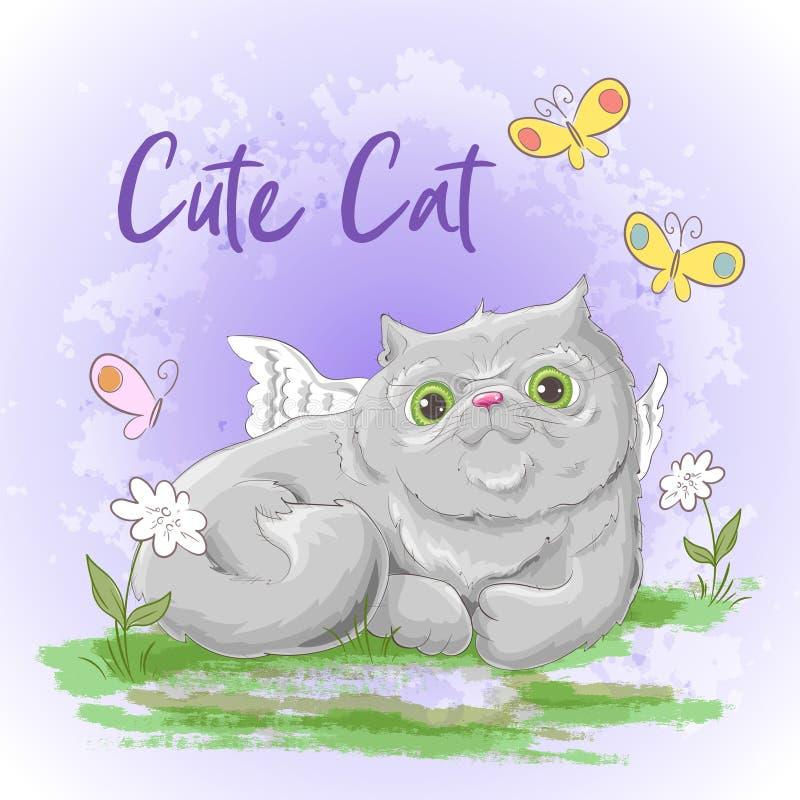 De leuke kat van de illustratieprentbriefkaar Druk op kleren en kinderens ruimte stock illustratie