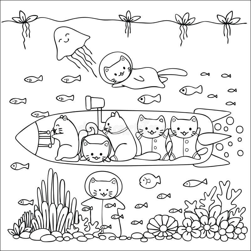 De leuke katten genieten van onderzoekend onder het ontwerp van de waterwereld voor behangkunst, kaarten, uitnodigingen en kleure vector illustratie