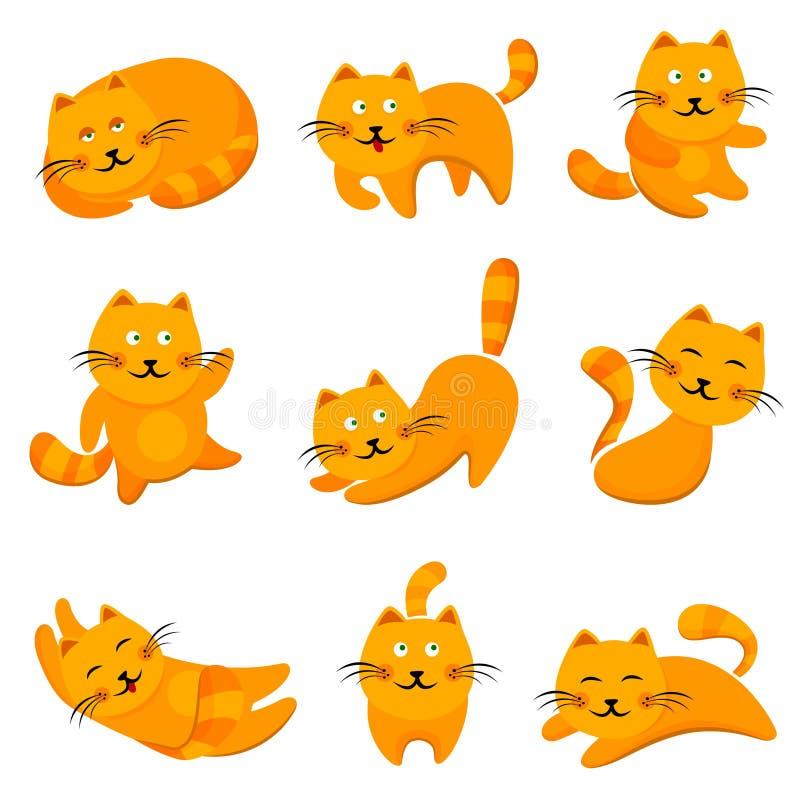 De leuke katten van het beeldverhaal stock illustratie