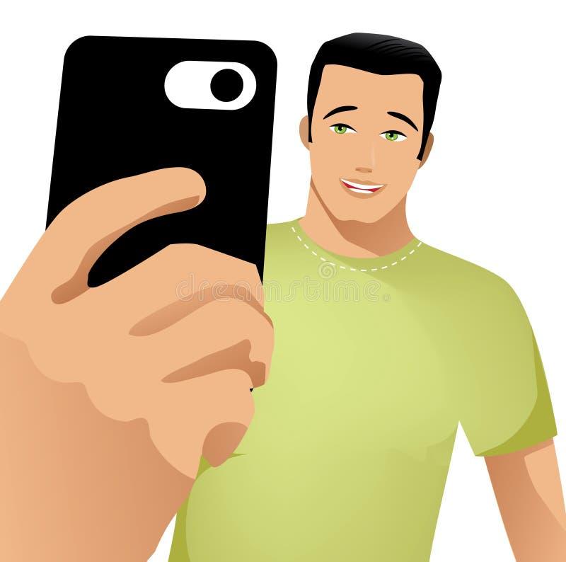 De leuke kerel neemt een selfie vector illustratie