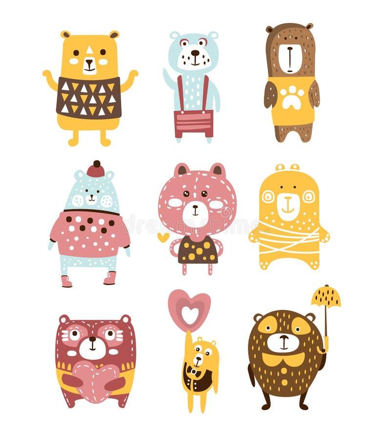 De leuke Kinderachtige Gestileerde Karakters van Toy Bear Animals Set Of in Kleren in Creatief Ontwerp royalty-vrije illustratie