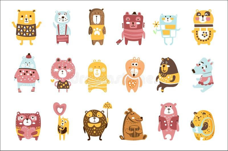 De leuke Kinderachtige Gestileerde Karakters van Toy Bear Animals Set Of in Kleren in Creatief Ontwerp stock illustratie