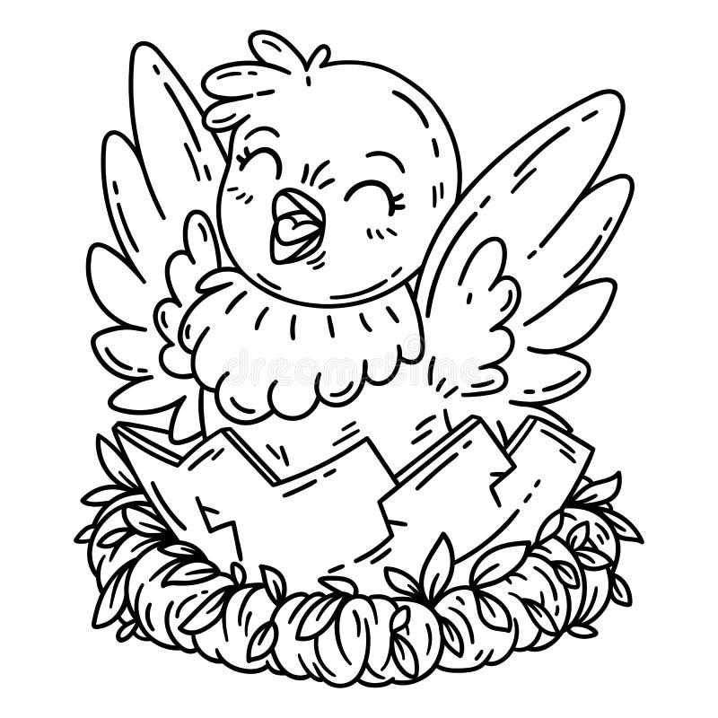 De leuke Kip van het Beeldverhaal Geïsoleerde voorwerpen op witte achtergrond Vector illustratie Kleurend boek vector illustratie