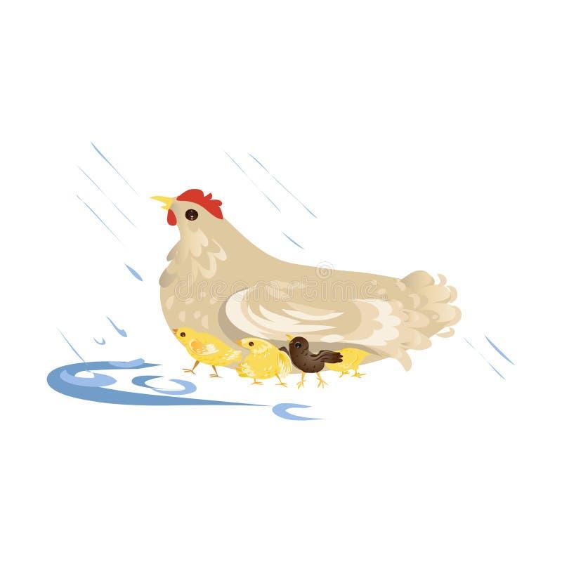 De leuke kip van de landbouwbedrijfmoeder neemt zorg over jonge geitjes vector illustratie