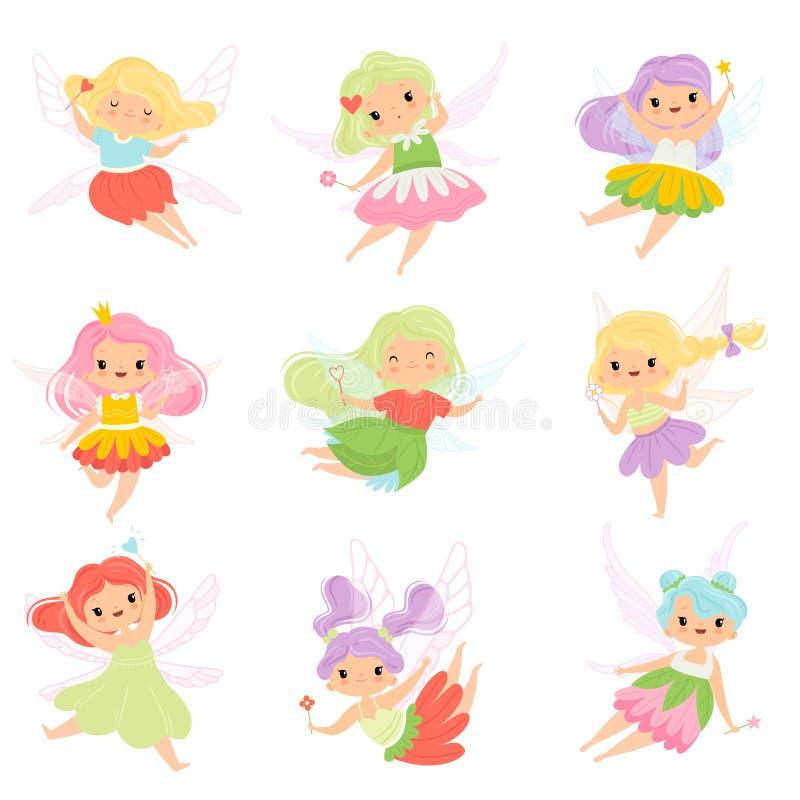 De leuke Kleine Feeën in Kleurrijke Kleding plaatsen, Mooie Gevleugelde Vliegende Meisjes met Toverstokjes Vectorillustratie stock illustratie