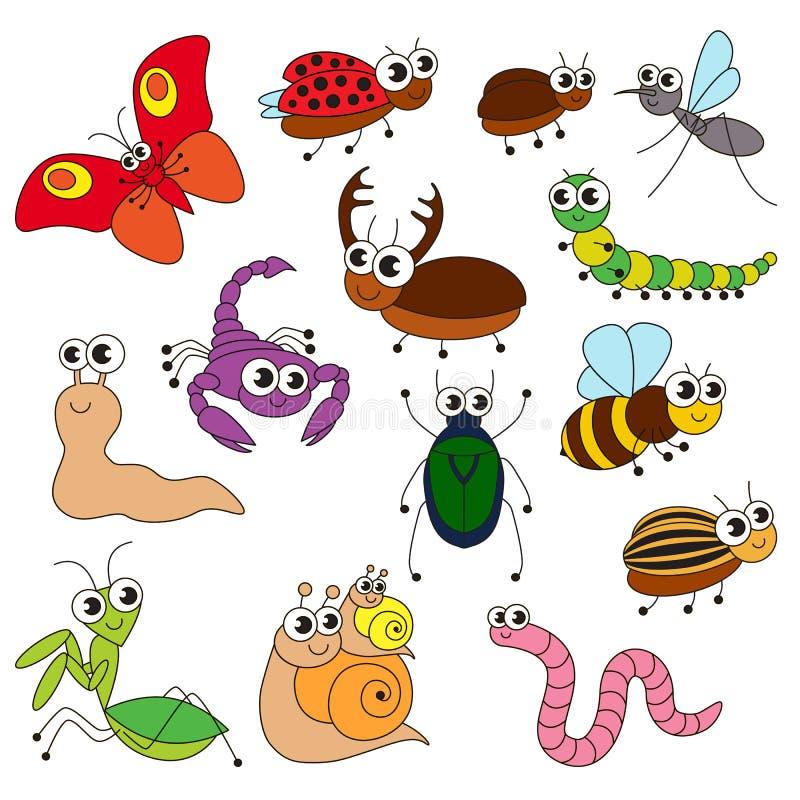 De leuke kleine insecten plaatsen, de inzameling van het kleuren van boekmalplaatje, de groep overzichts digitale elementen stock illustratie