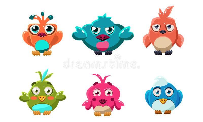 De leuke kleine vogels plaatsen, grappige kleurrijke beeldverhaal glanzende vogel, gebruikersinterfaceactiva voor mobiele apps of vector illustratie