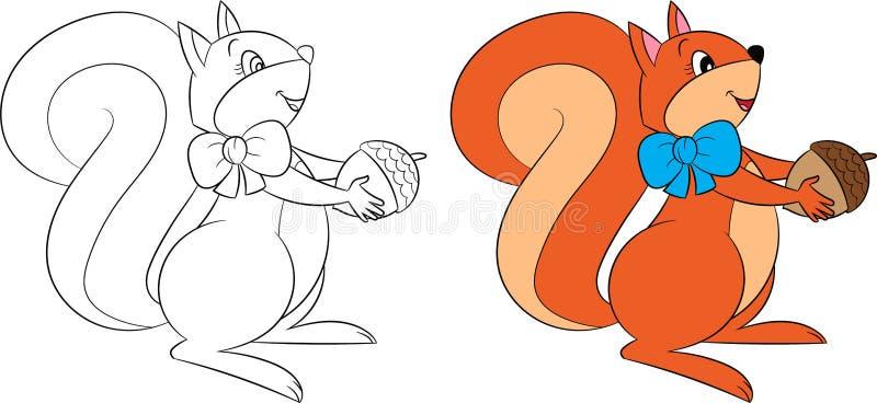 De leuke de kleur en de contourtekening van Kawaii van een eekhoorn met een eikel, perfectioneert voor de kleuringsboek van kinde royalty-vrije illustratie