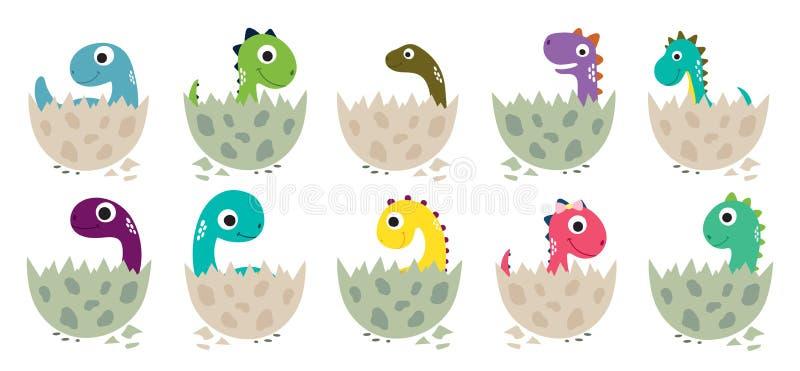 De leuke kleurende pagina van Dino voor jonge geitjes Kleurend raadsel met aantallen kleur royalty-vrije illustratie