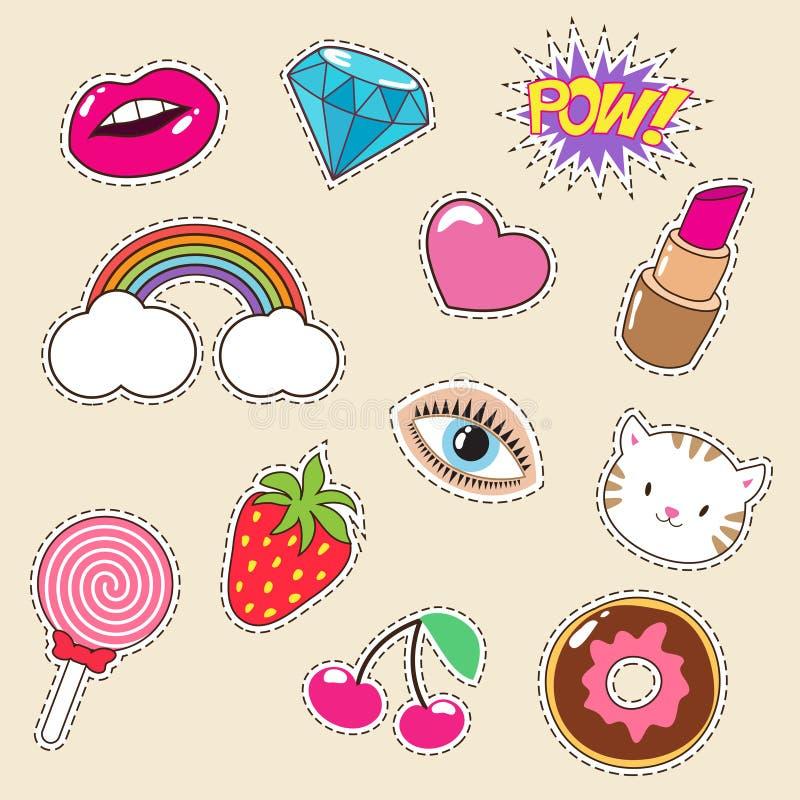 De leuke kleurrijke flarden van de meisjes vectormanier Lippenstift, regenboog, diamant en aardbeipictogrammen royalty-vrije illustratie