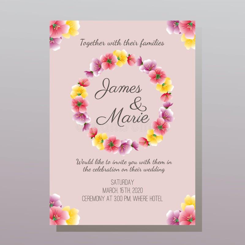 De leuke kleurrijke uitnodiging van het bloemhuwelijk stock illustratie