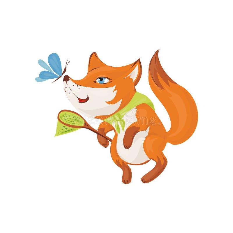De leuke kleurrijke vos met netto mand wil insect vangen royalty-vrije illustratie