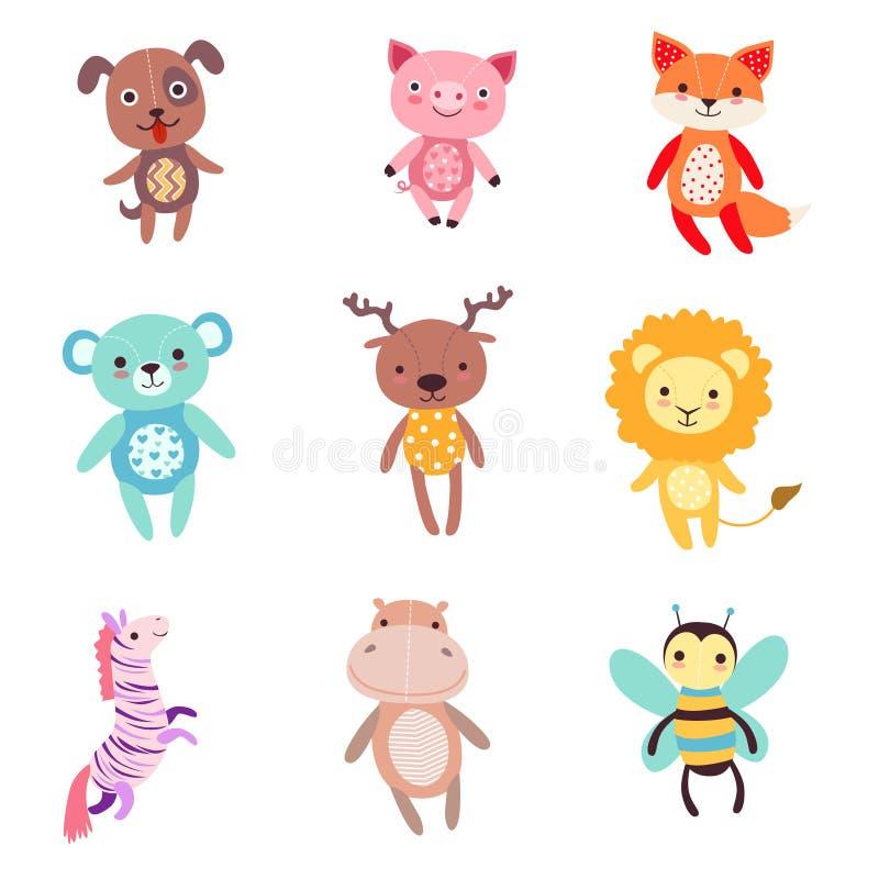 De leuke kleurrijke zachte reeks van het pluche dierlijke speelgoed vectorillustraties royalty-vrije illustratie