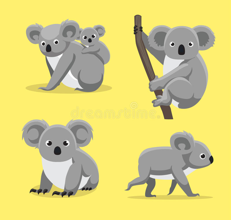 De leuke Koala stelt Beeldverhaal Vectorillustratie