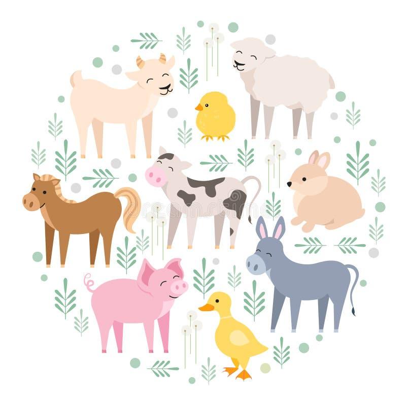 De leuke koe van landbouwbedrijfdieren, varken, lam, ezel, konijntje, kuiken, paard, geit, geïsoleerde eend Huisdierenjong geitje royalty-vrije illustratie