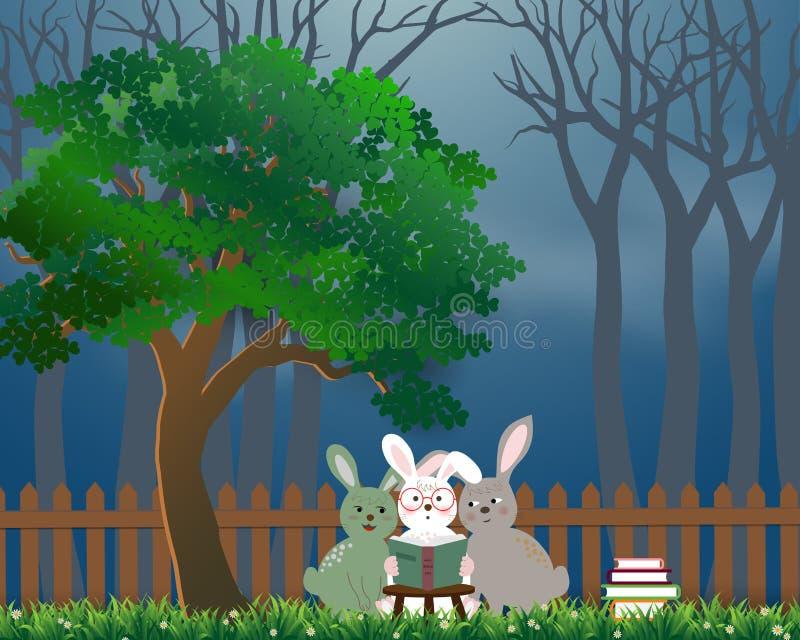 De leuke konijnen de troeplezing boekt onder de boom, achtergrond voor de dag van het Wereldboek of Internationale Onderwijsweek royalty-vrije illustratie