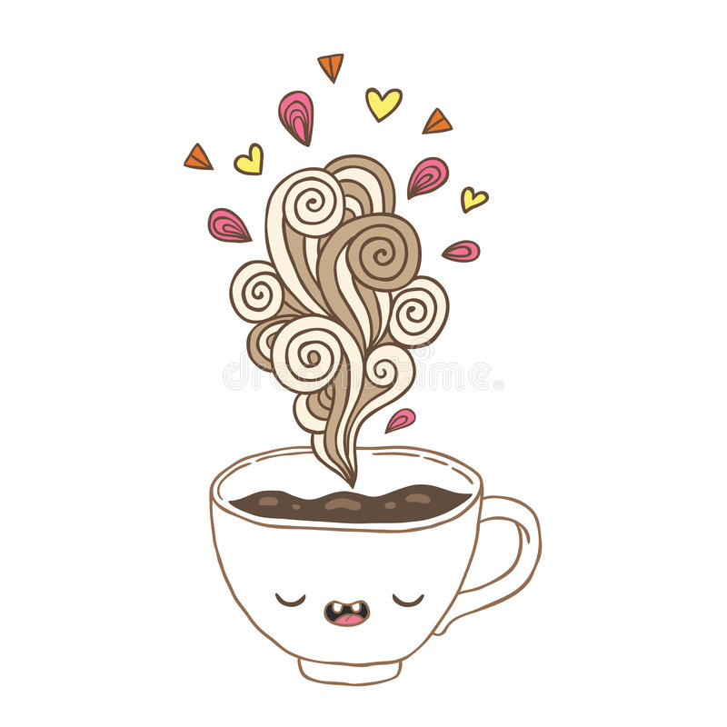 De leuke kop van de beeldverhaalkoffie met krabbelstoom stock illustratie