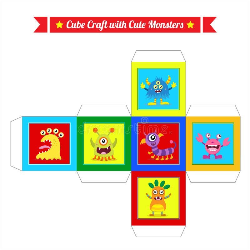 De leuke kubus van het monsterspel royalty-vrije illustratie