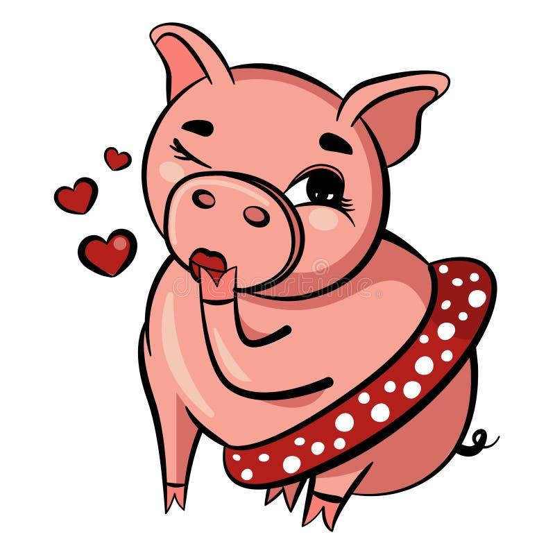 De leuke kus van varkensslagen Het roze varken knipoogt met oog Het vette volwassen varken zit in korte rok Geïsoleerdee vectoril stock fotografie