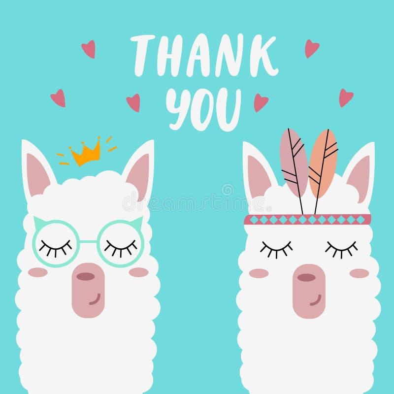 De leuke lama's op een muntachtergrond met de woorden 'danken u ' stock illustratie
