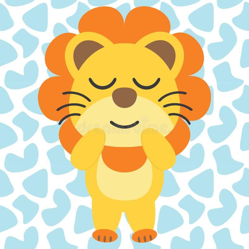 De leuke leeuw geniet van de illustratie van het slaapbeeldverhaal voor het ontwerp van de jong geitjet-shirt stock illustratie