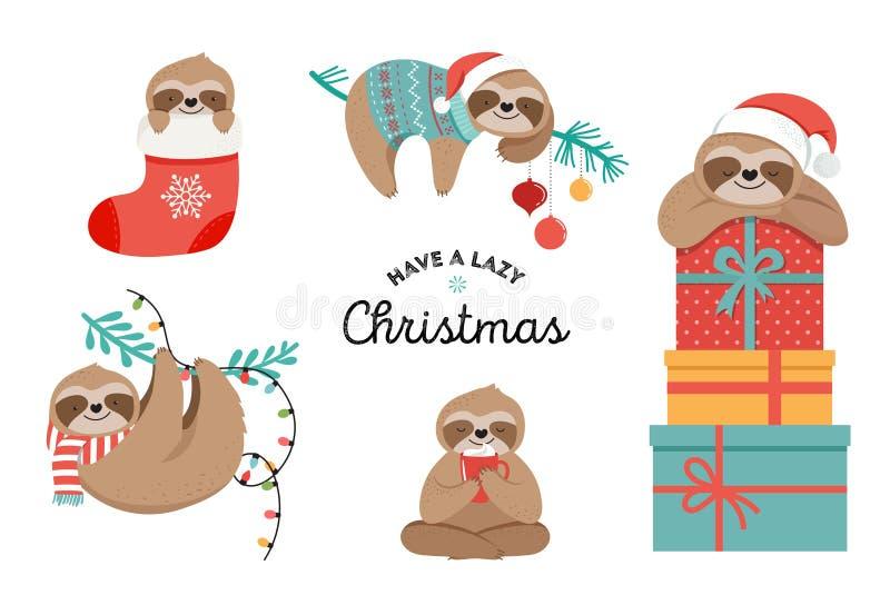 De leuke luiaarden, de grappige Kerstmisillustraties met Santa Claus-kostuums, de hoed en de sjaals, groetkaarten plaatsen, banne vector illustratie