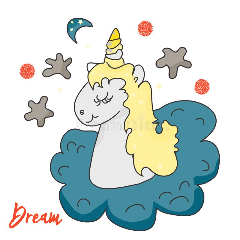 De leuke magische Eenhoorn en feeelementeninzameling Geïsoleerdee vectorillustratie Druk, magische sticker, banner vector illustratie