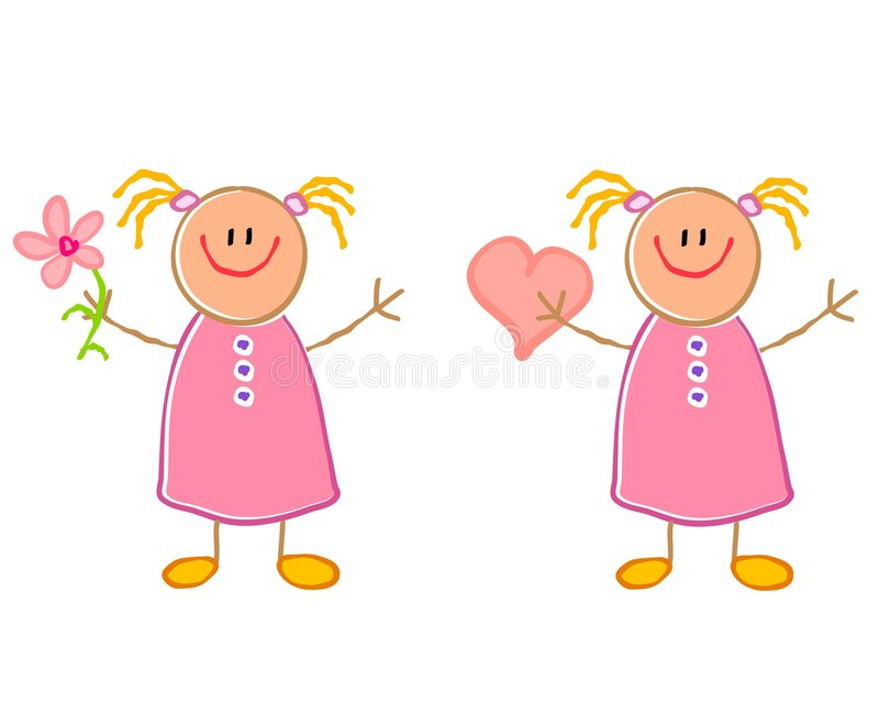 De leuke Meisjes van de Tekening van het Kind royalty-vrije illustratie