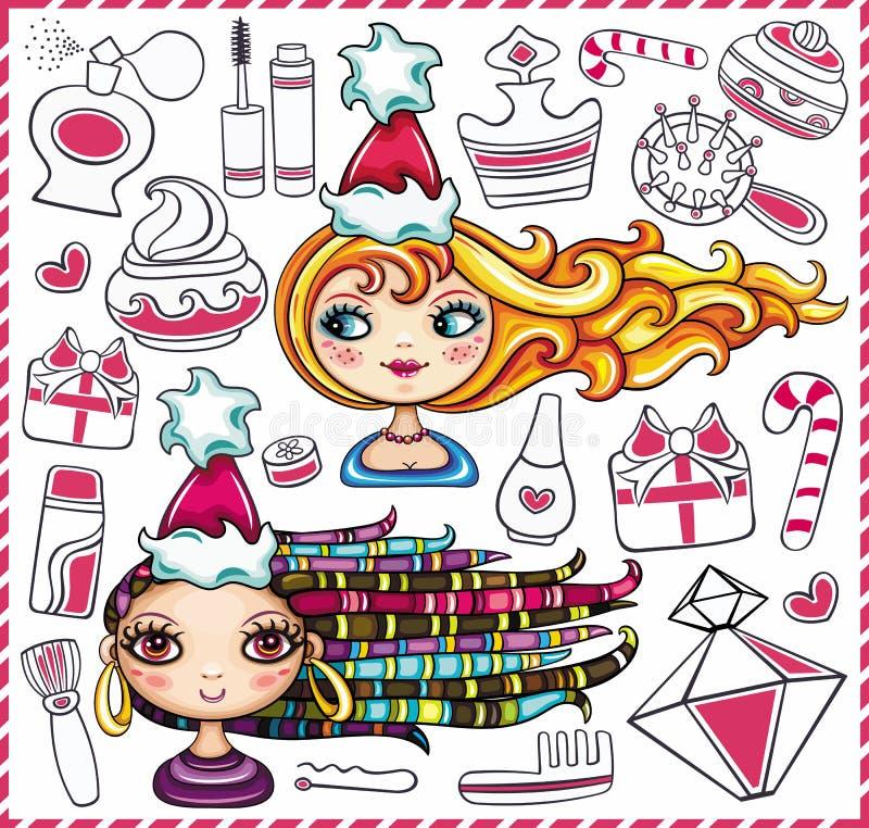 De leuke meisjes van Kerstmis en diverse schoonheidsproducten. royalty-vrije illustratie