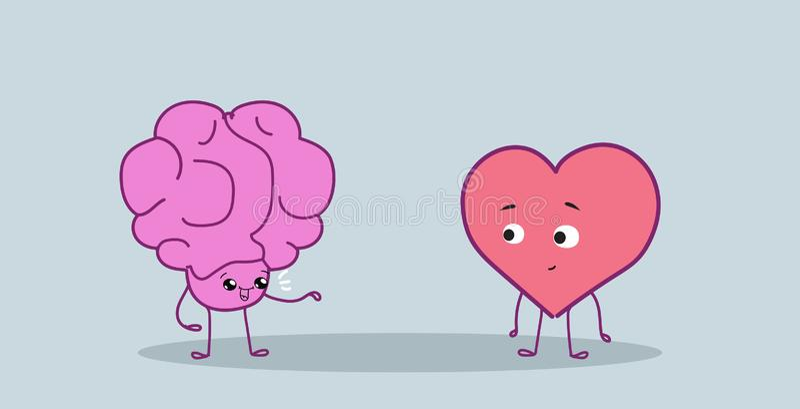 De leuke menselijke hersenen en het hart koppelen zich het verenigen van logica en voelen stijl van de karakterskawaii van het co vector illustratie