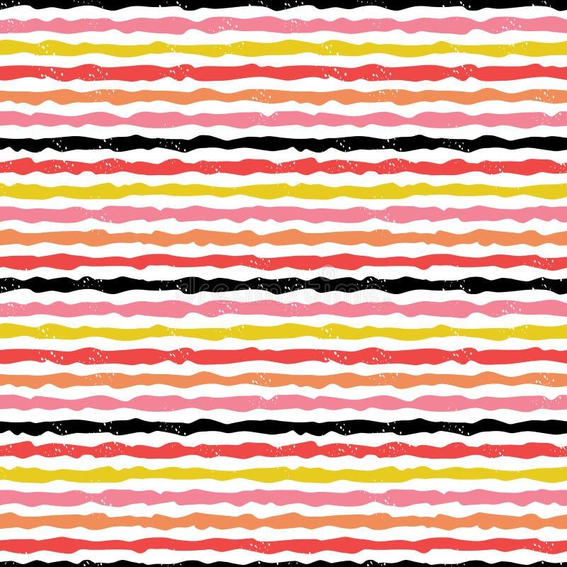 De leuke moderne hand getrokken strepen in rood blozen roze op wit royalty-vrije illustratie
