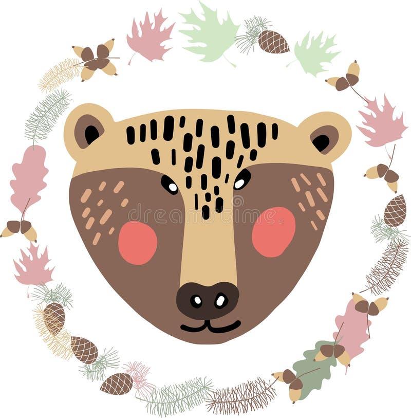 De leuke, mooie, mooie en eenvoudige dierlijke gezichtenschets, dragen en de de herfst bloemenelementen royalty-vrije illustratie
