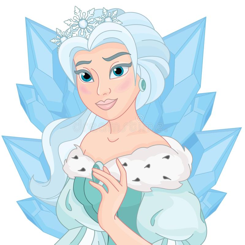 De leuke Mooie Koningin van de Feesneeuw royalty-vrije illustratie