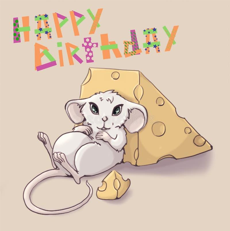 De leuke muis voedde omhoog met kaas Gelukkige Verjaardag van de groetkaart de ' vector illustratie