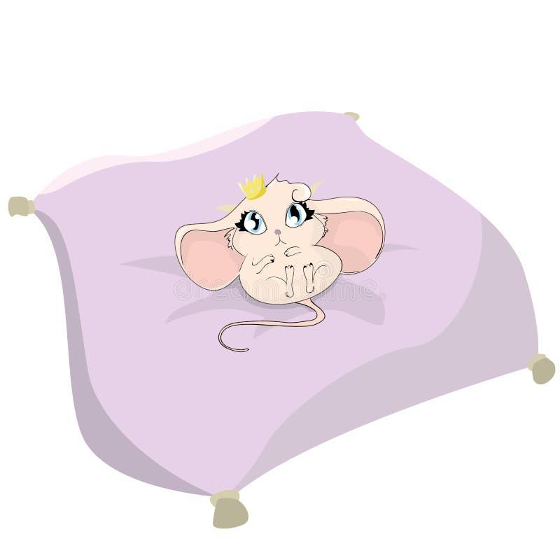 De leuke muis voedde omhoog met kaas Gelukkige Verjaardag van de groetkaart de ' royalty-vrije illustratie