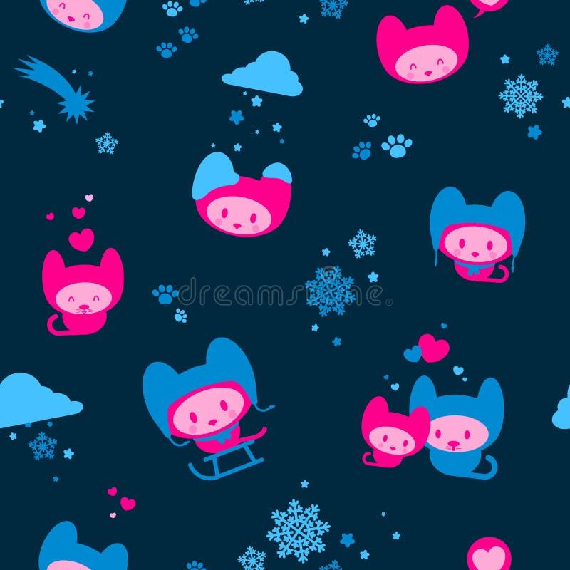 De leuke naadloze achtergrond van het de winterkatje vector illustratie