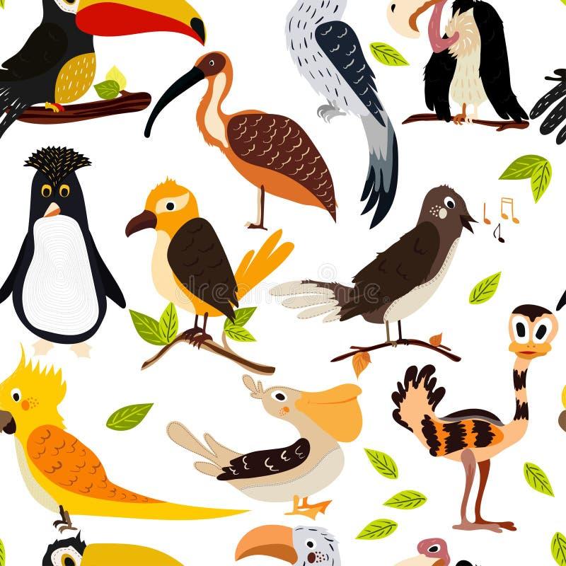 De leuke naadloze textuur van het vogelontwerp Beeldverhaal-stijl vector illustratie