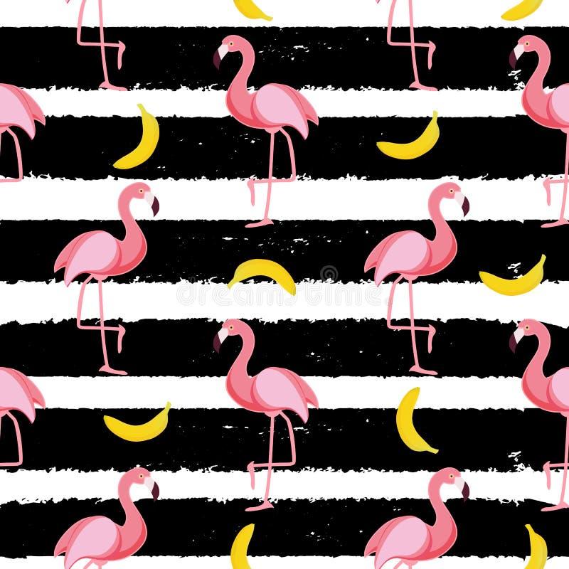 De leuke Naadloze Vectorillustratie van het Flamingopatroon vector illustratie