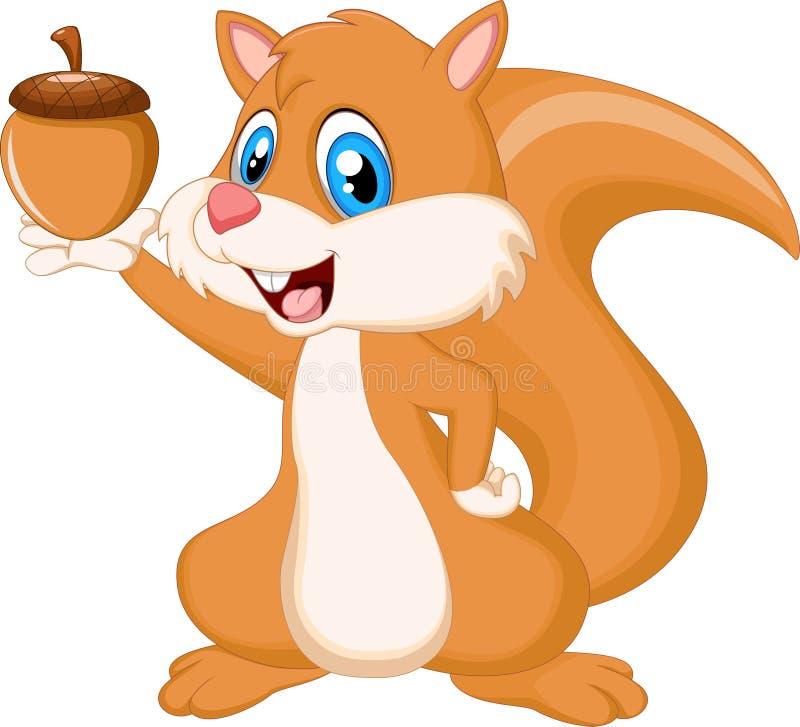 De leuke noot van de eekhoornholding stock illustratie
