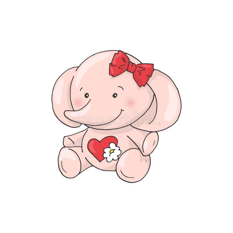 De leuke olifant van het beeldverhaal mooie meisje stock illustratie