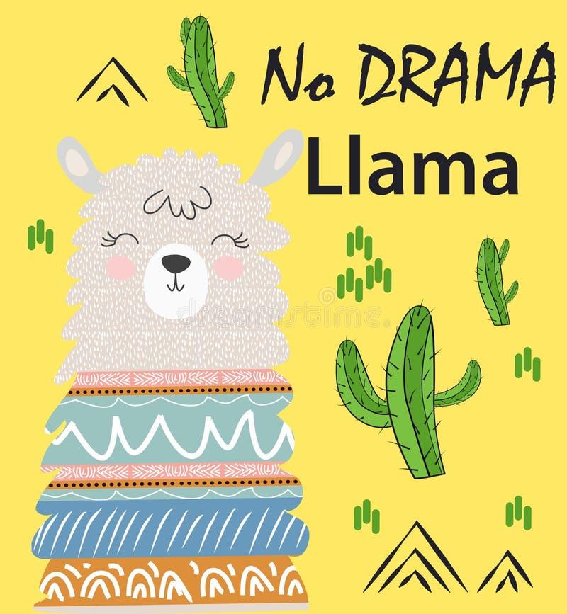 De leuke ontwerpset van de alpacavectorafbeeldingen van de beeldverhaallama De hand getrokken illustratie van het lamakarakter royalty-vrije illustratie