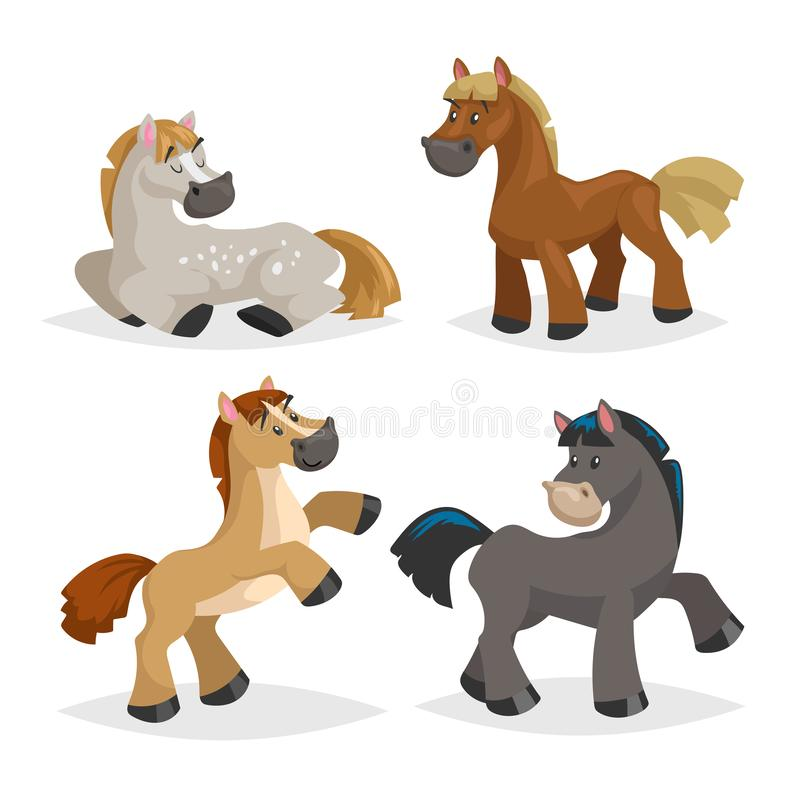 De leuke paarden in divers stelt Het landbouwbedrijfdieren van de beeldverhaalstijl Verschillende kleuren en rassen Slleeping, zi royalty-vrije illustratie