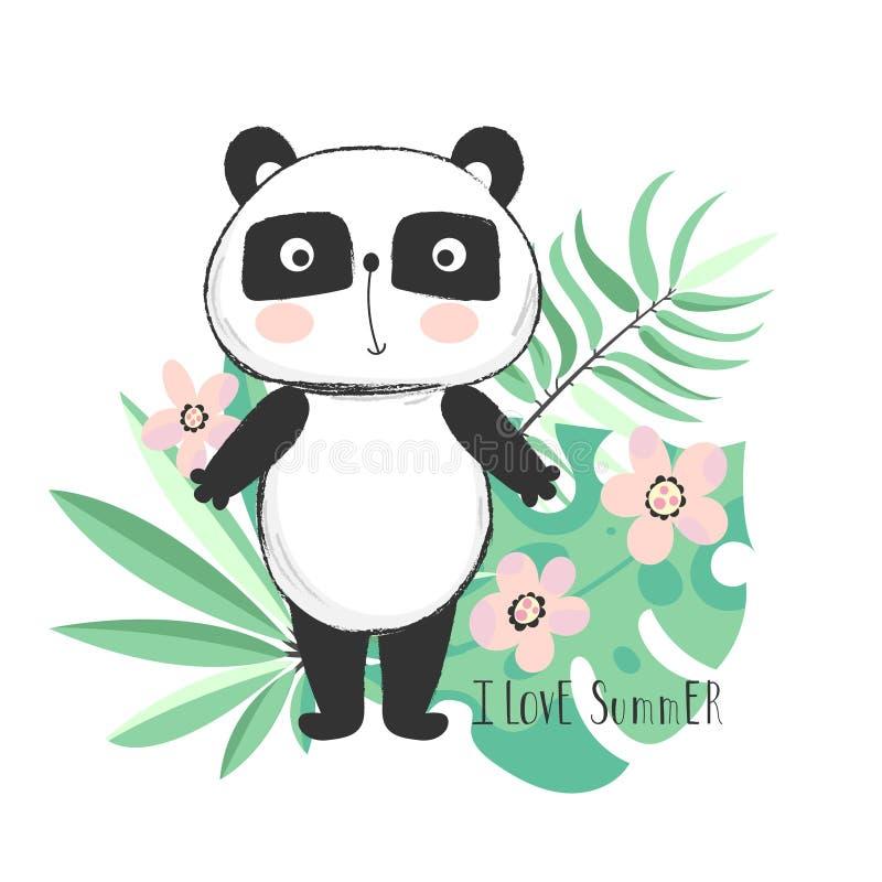 De leuke panda draagt met tropische bladeren stock illustratie