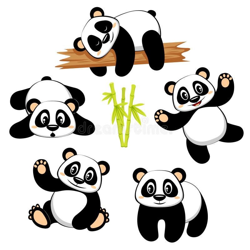De leuke panda draagt met verschillende emoties op witte achtergrond vector illustratie
