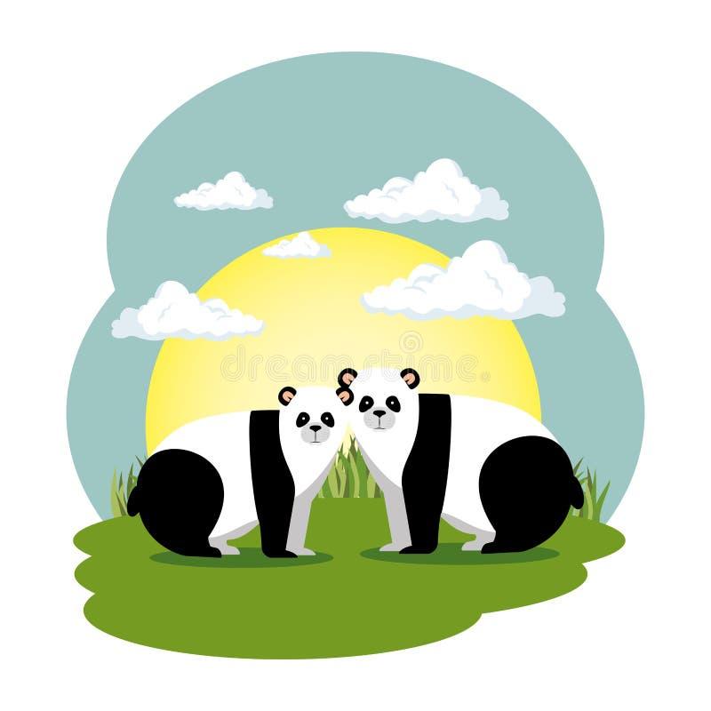 De leuke panda draagt paar in de gebiedsscène royalty-vrije illustratie