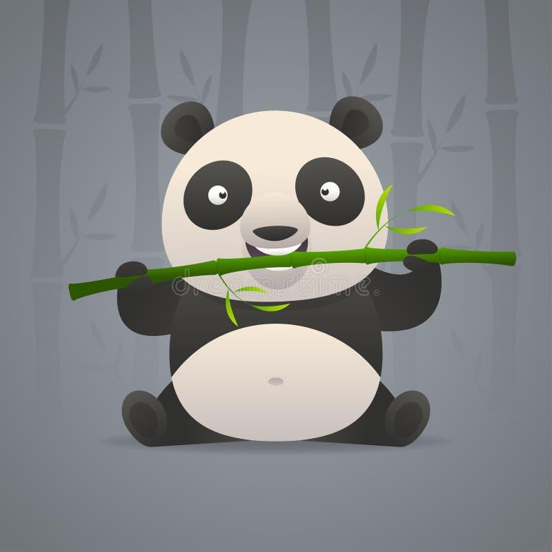 De leuke panda knaagt aan bamboe stock illustratie