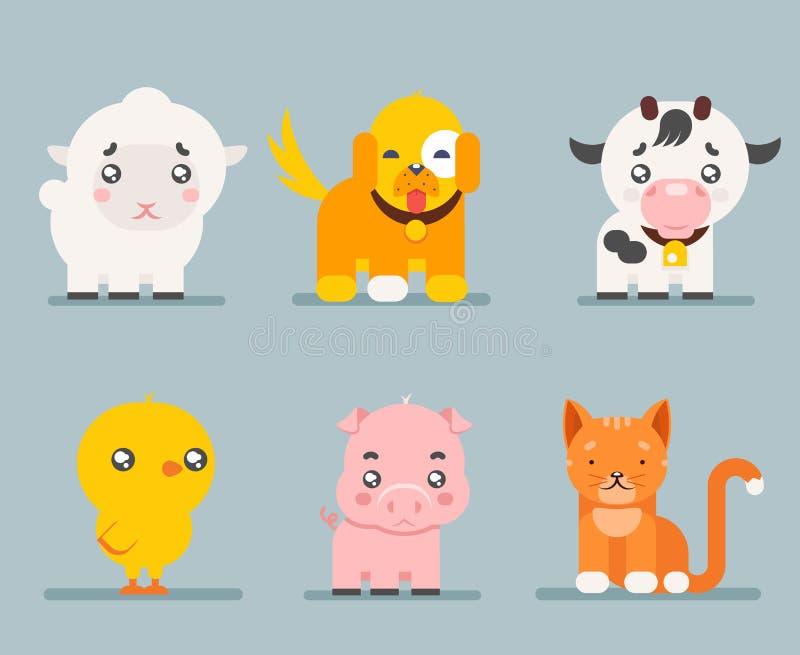 De leuke pictogrammen van het het beeldverhaal vlakke ontwerp van landbouwbedrijfdieren geplaatst karakter vectorillustratie stock illustratie