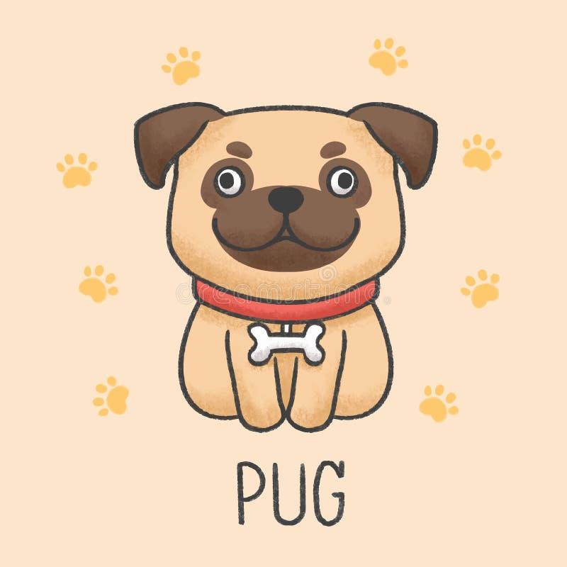 De leuke pug getrokken stijl van het hondbeeldverhaal hand stock illustratie