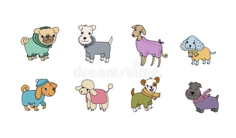 De leuke rassen van de beeldverhaalhond Gelukkige Dieren Vector illustratie vector illustratie