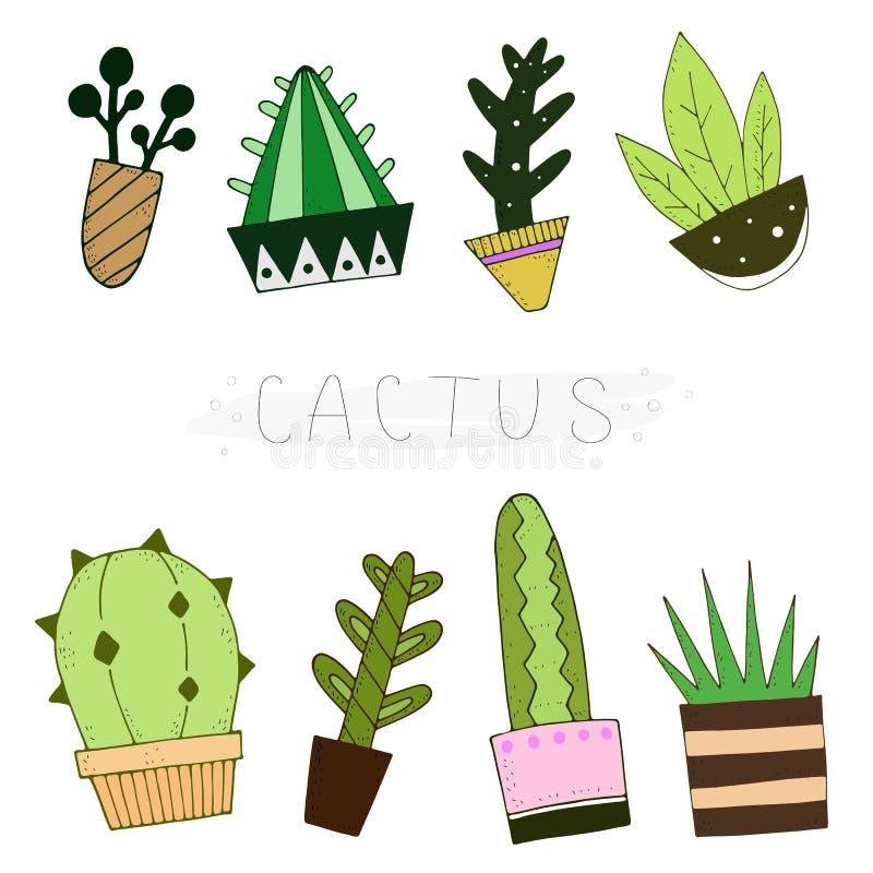 De leuke reeks van de beeldverhaalkleur cactussen met de inschrijving Vector illustratie royalty-vrije illustratie
